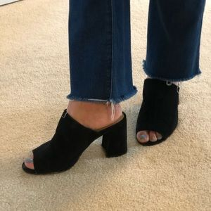 Suede mules with block heels